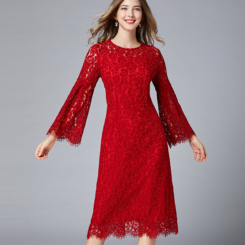 2019 Spring Lace Long Dresses Lady Plus Size O Neck Flare
