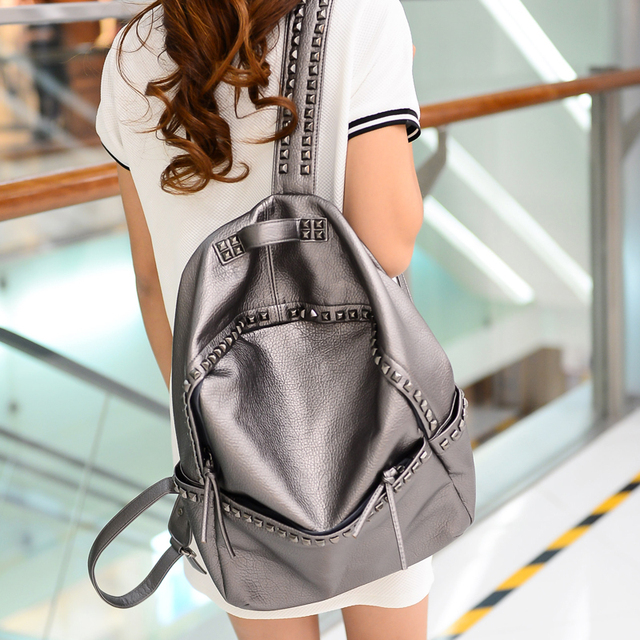 Korean Style Large Size School Bags For Teenage girls Lady PU Leather casual Rivet Backpacks Womens Waterproof Big Travel Bags