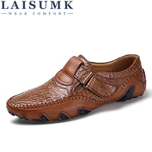 LAISUMK Luxury Brand Design Slip On Loafers Men Casual Shoes Genuine Leather Moccasin Boat Walking Shoe Flat Oxford Men Sneaker