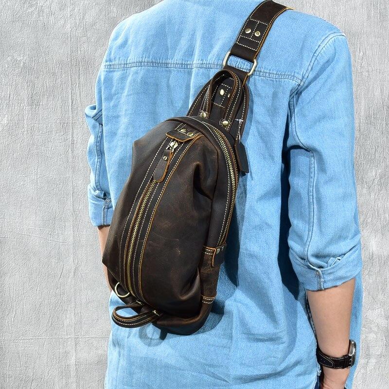 Couro genuíno dos homens crossbody sacos para homens mensageiro saco de peito pacote casual único pacote de alça de ombro pacote diagonal