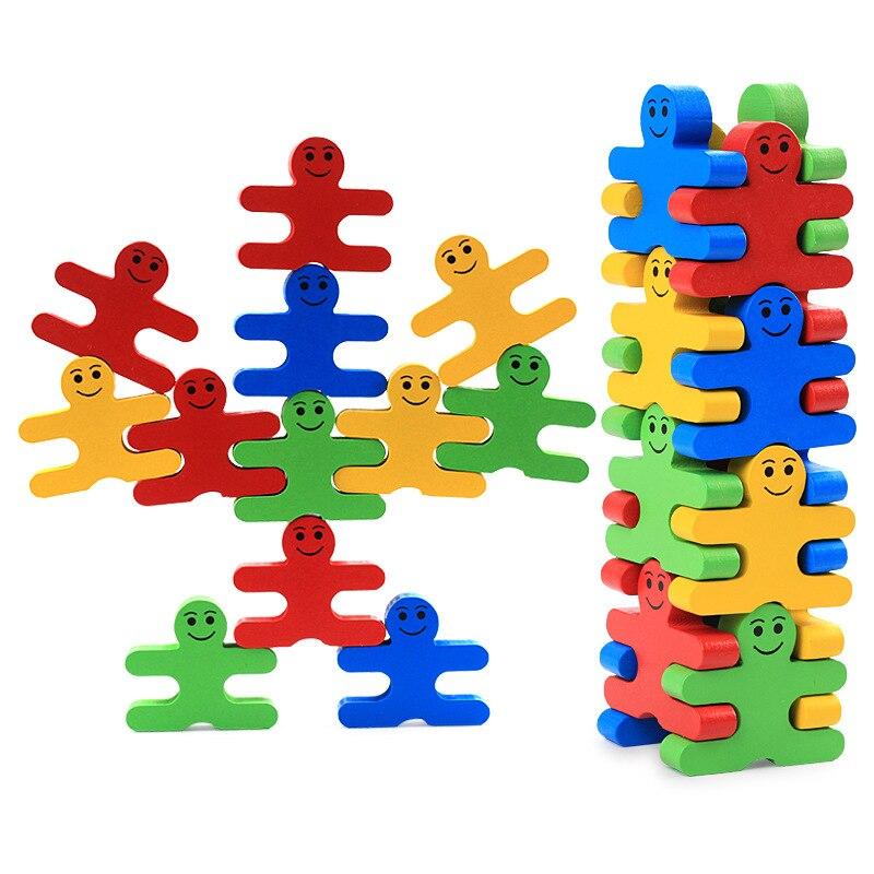 Bebé juguetes de madera bloques juego de equilibrio 16 piezas bloques educativos ladrillo juguetes juego de mesa regalo de Navidad para niños