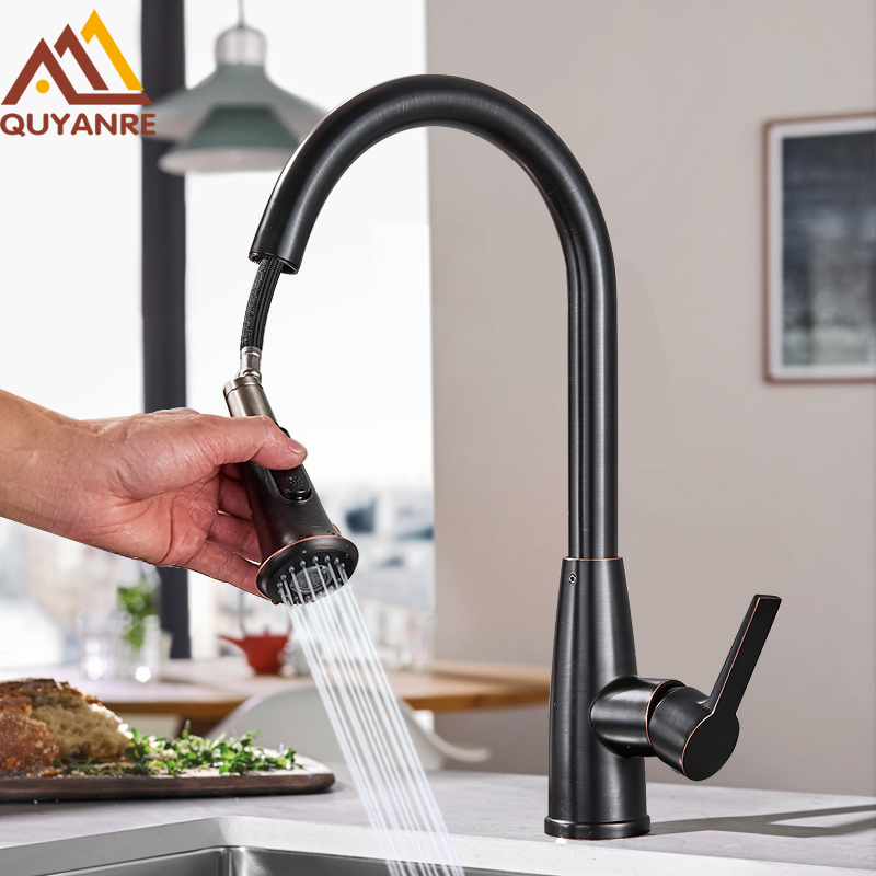 купить Quyanre Bronze Black Kitchen Faucet Pull Out Kitchen Tap 360 Degree Rotation Pull Down Spray Singe Handle Kitchen Mixer Tap по цене 4602.32 рублей