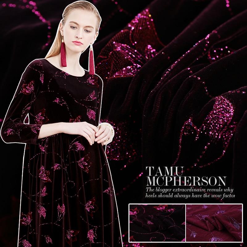 Custom Magnolia Gold Leaf Printing Bronzing Silk Velvet Fabric Silk Velvet Cloth Qiaorong Clothing Cheongsam Dress Material