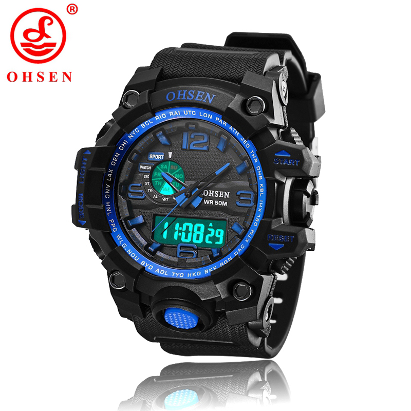 Men Sports Watches Waterproof Alarm Chronograph LED Quartz Wristwatches OHSEN Brand Plastic Strap relogio masculino AD1606 men sports watches waterproof multiple time zone led quartz wristwatches silicone auto date back light ohsen brand watch ad2806