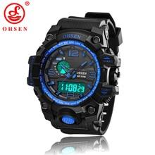 Hombres Deportes Relojes Chronograph Alarm Impermeable LED Relojes de pulsera de Cuarzo OHSEN Marca De Plástico Correa relogio masculino AD1606