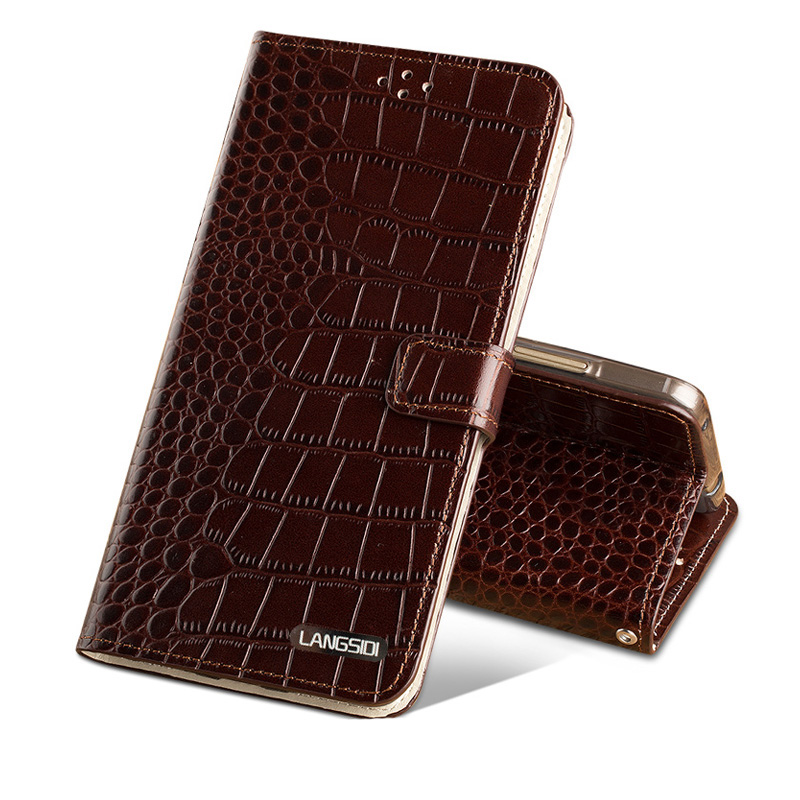 Wangcangli En Cuir Véritable étui pour iPhone 8 X Crocodile Texture Carte Slots Téléphone Housse Pour iPhone 6 6 S 7 Plus cas