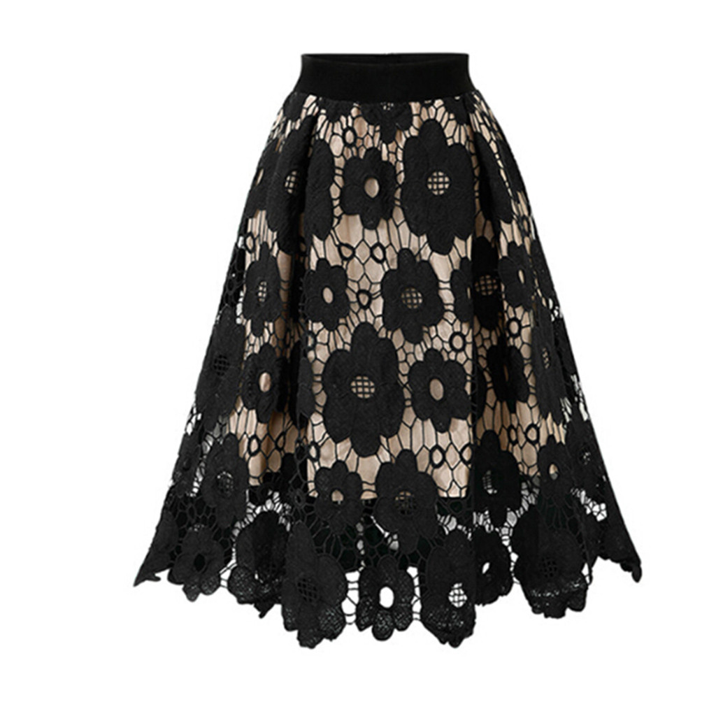 Women Fashion Summer Midi long high waist Skirt Lace Flower Print skirts Beach Party Elegant Midi Skirt Female #B