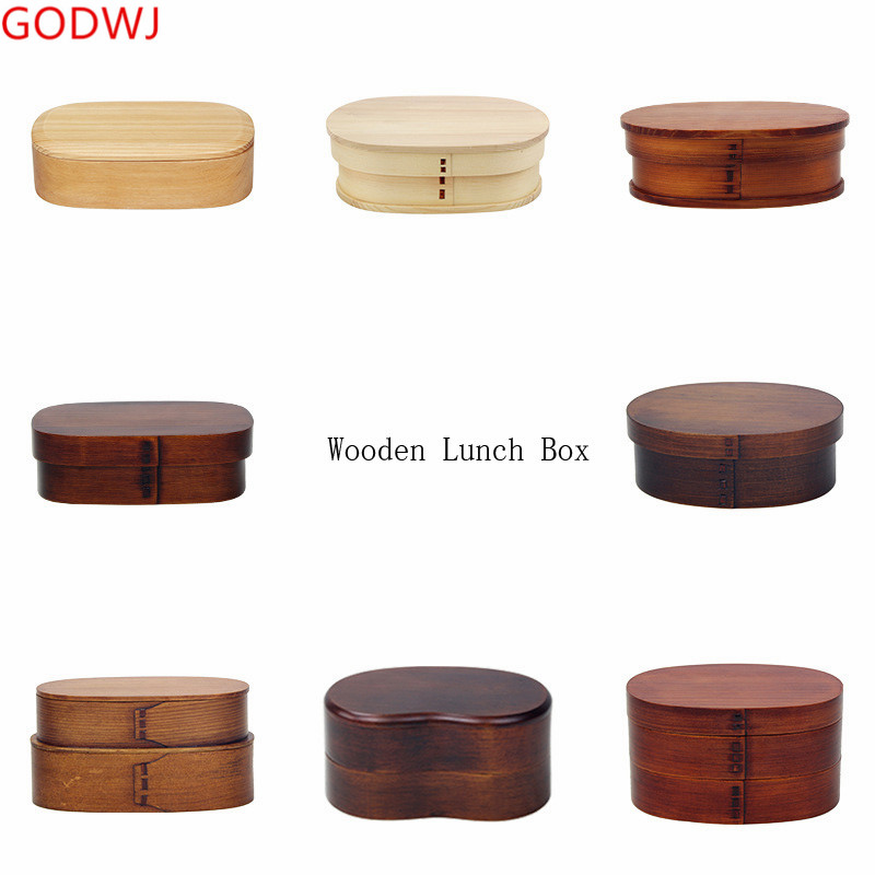 GODWJ Tableware Wooden <font><b>Lunch</b></font> <font><b>Box</b></font> Japanese Style Student Food Containers For Kids Compartment Bento Boxes Kitchen Tableware image