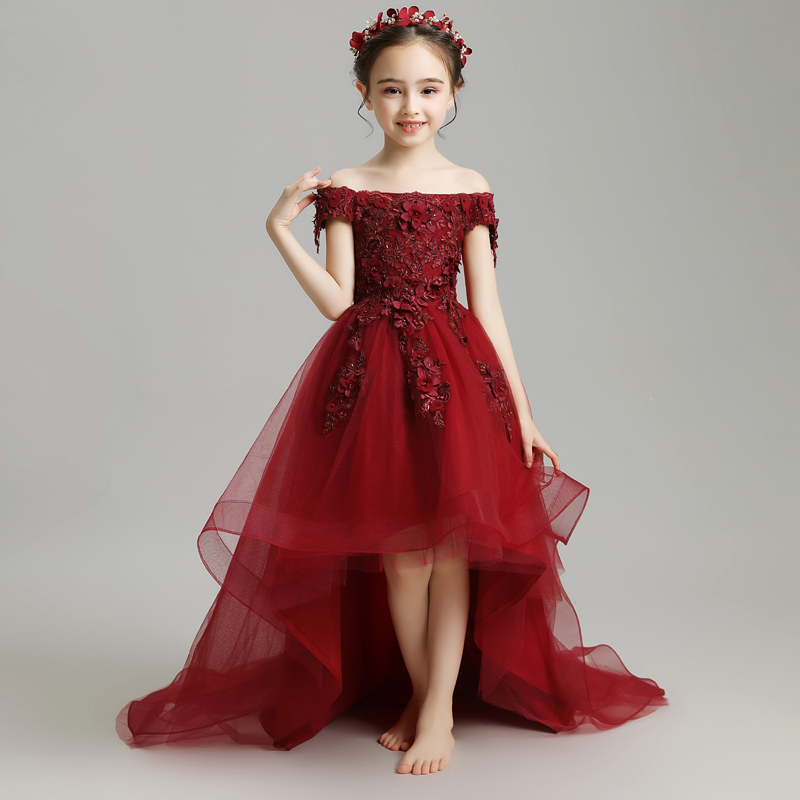 Wine Red Long Trailing   Flower     Girl     Dresses   Wedding Off the Shoulder Kids Pageant   Dress   Birthday Costume Lace Up Princess   Dress