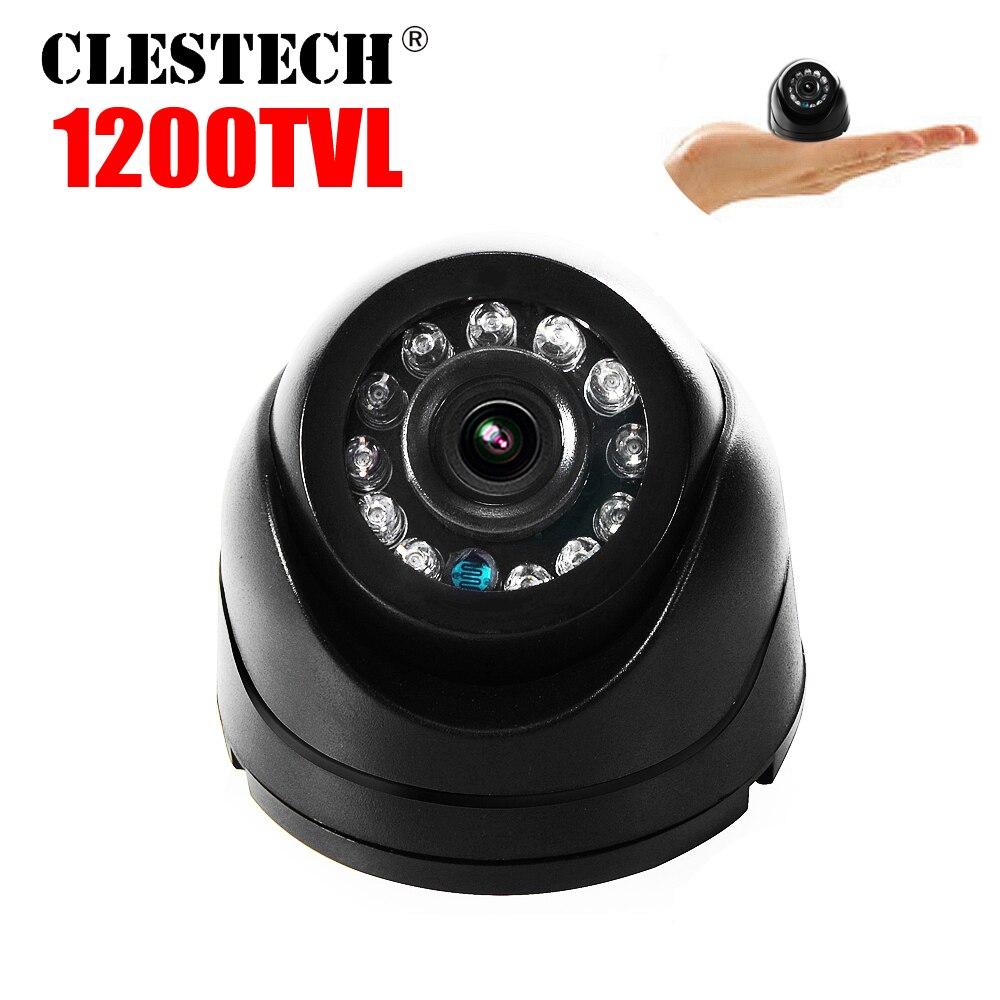 Labai mažas! 1 / 3cmos skaityti 1200TVL Mini Vidinis Kupolas HDTV CCTV Apsauga Analoginė kamera IR supjaustyta 12LED infraraudonųjų spindulių naktinis matymas 20m vidicon