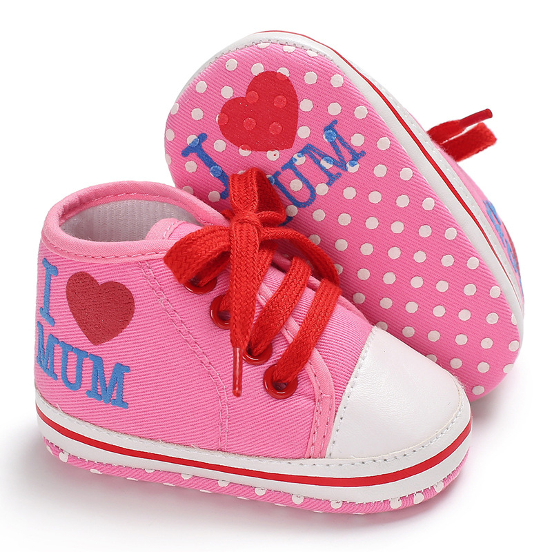 Raise Young Canvas Toddler Baby First Walkers I Love DAD/MUM Baby Boy Shoes Newborn Baby Girl Sneakers Infant Footwear