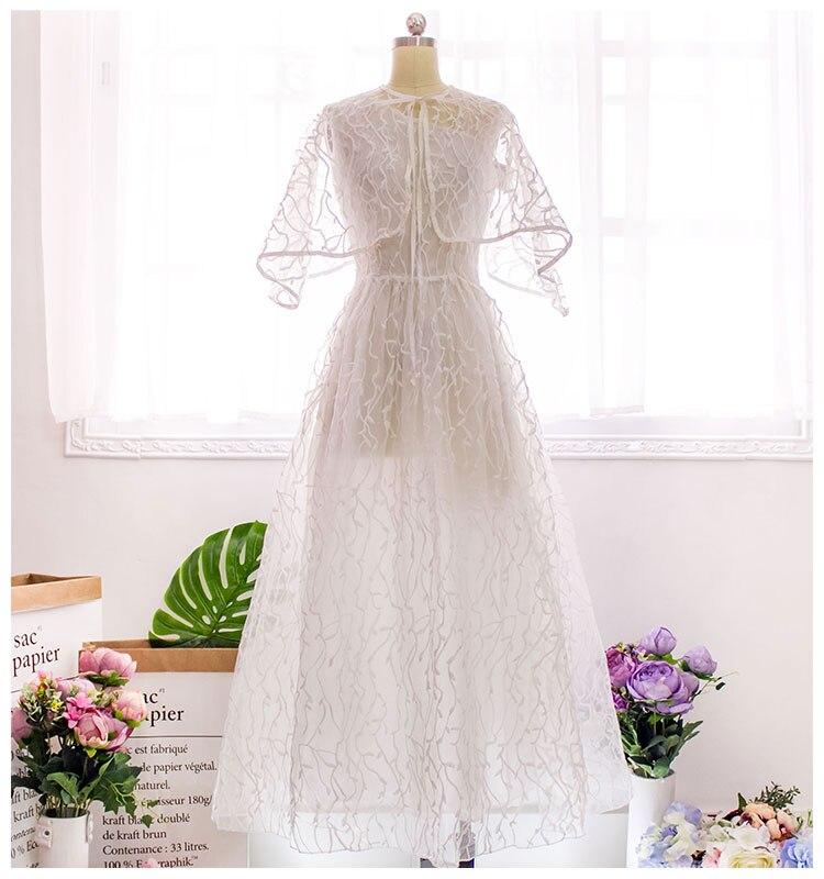 Freeship ladies womens vintage organza white embrodiery long dress