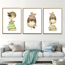 HAOCHU Modern Cartoon Book Fan Bird Canvas Painting Art Print Poster Wall Pictures for Home Kids Room Decor