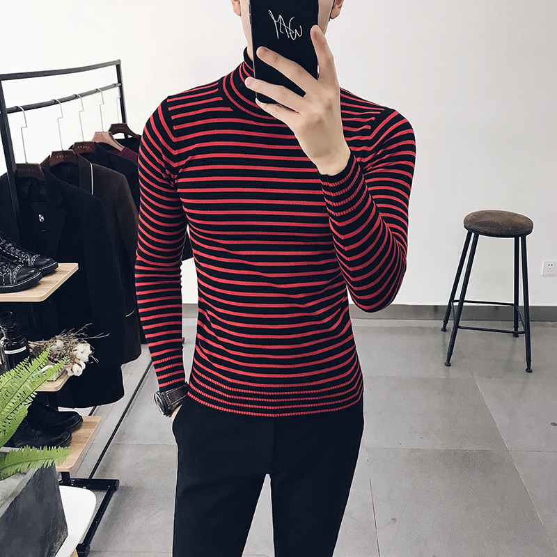 2018 winter mens T shirt Korean youth Slim mens bottoming shirt high-necked striped sweater trend T-shirt