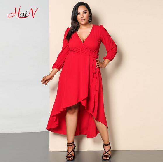 Ženy módní ležérní asymetrické vintage sexy pletení bavlna plné rukávy křídla motýl plus velikost délka šaty vestidos