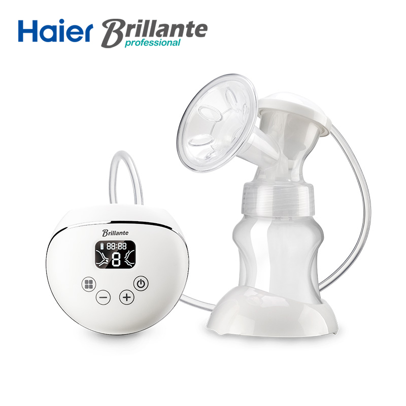 Haier Brillante Electric Breast Pump With Milk Bottle USB and Li Battery Power PP BPA free Powerful Baby Feeding Breast Pumps multifunctional portable babies intelligent milk bottle feeding temperature indication low power warning timed reminder