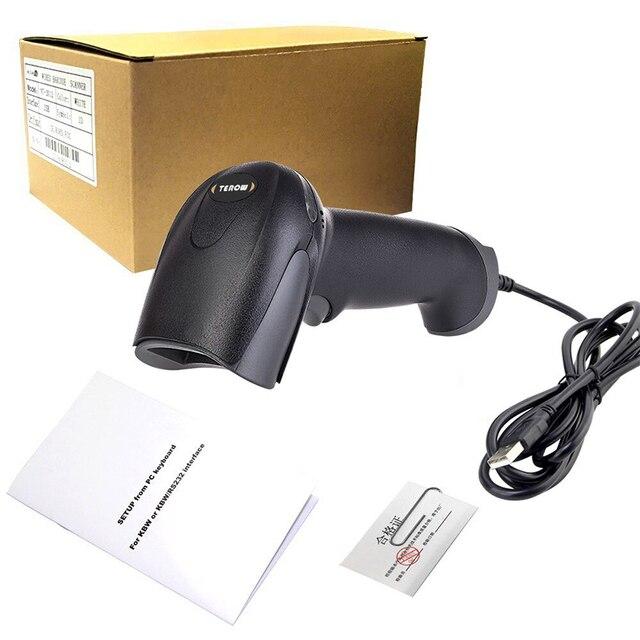 TEROW Barkod Tarayıcı Taşınabilir Lazer F5 Yüksek Duyarlı Barkod El Tarayıcı USB Kablolu 1D Barkod Tarama için POS Sistemi