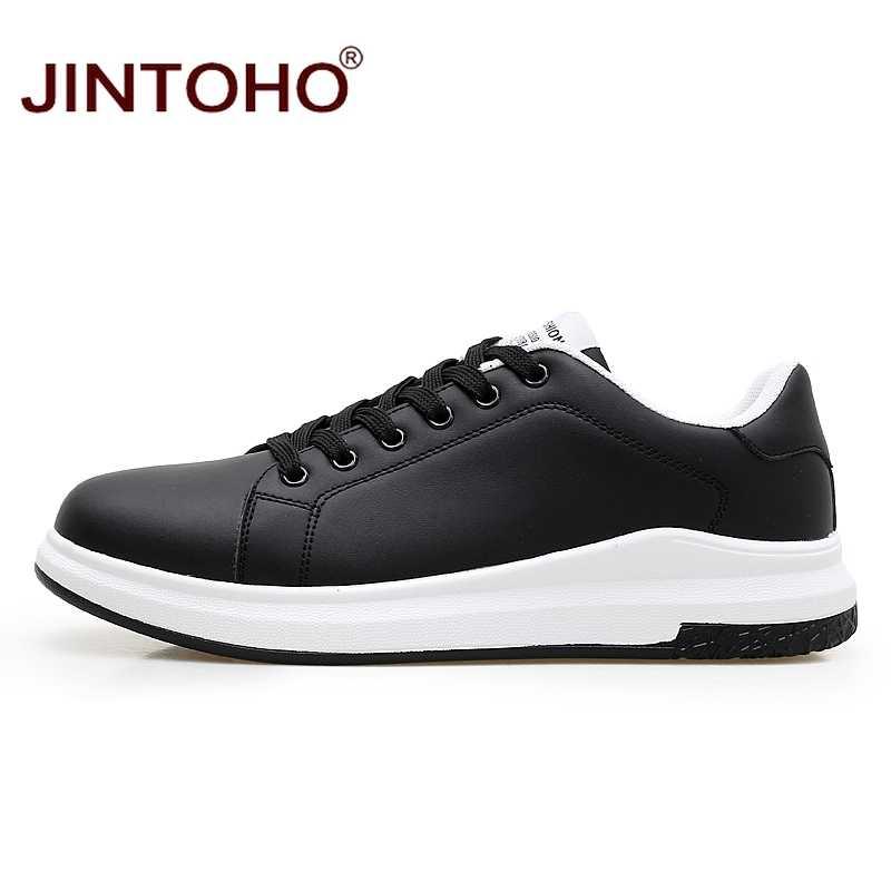 JINTOHO gran tamaño marca de moda Casual hombres zapatos de cuero blanco masculino Casual zapatos transpirables blanco zapatillas de cuero hombres mocasines