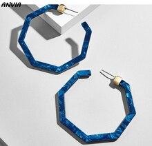 Vintage Leopard Acetate Resin Geometric Large Polygonal Stud Earrings For Women Acrylic Tortoiseshell Pendientes Jewelry Gift
