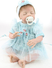 22″ Lifelike Sleeping Newborn Girl Blue Lace Dress Kits Realistic Reborn Baby Alive Doll for Shooting Model Kids Gifts Toys