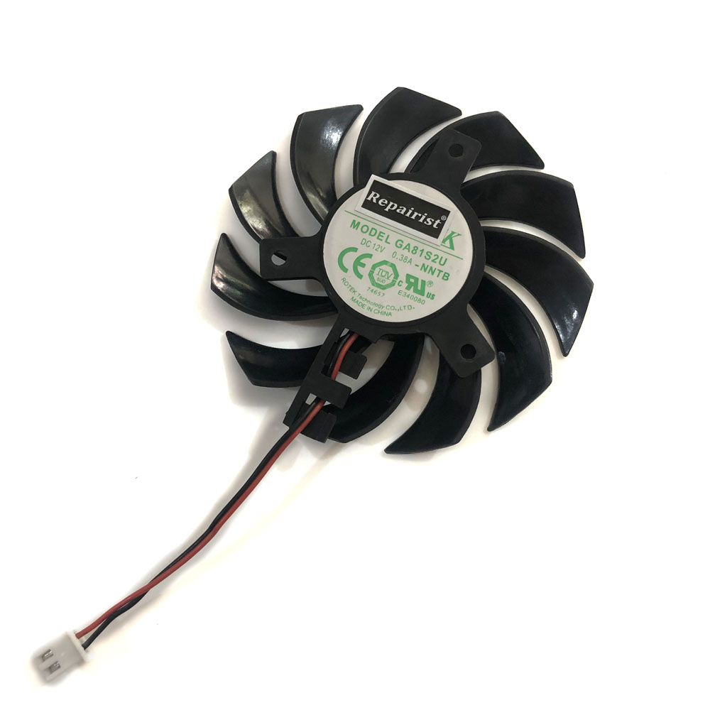 GA81S2U 75mm 0.38A 2Pin GT440 GT620 GT630 GPU VGA Cooler Fan As Replacement For EVGA GT 440/620/630 Graphics Video Card