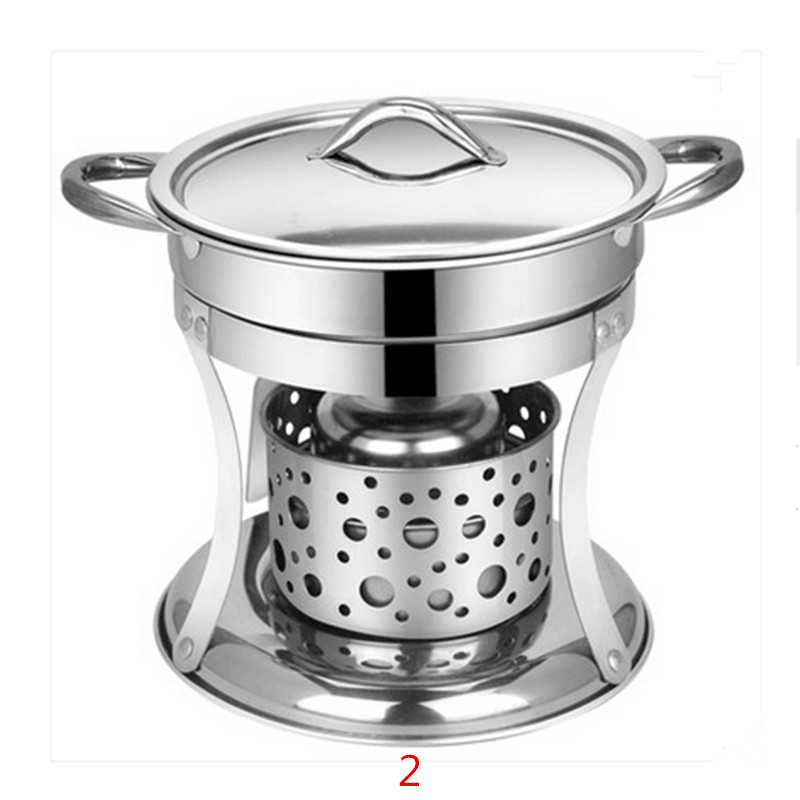 Mini Portable Solid Alcohol Stove Stainless Steel Household Liquid Hot Pot Multi Cooker For Outdoor Party Picnic Cafeteria