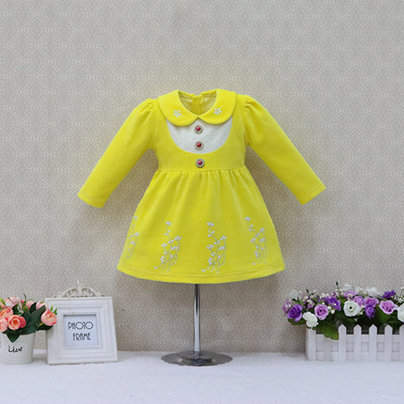 Children Velour Party Lace dress New Year Girls Long Sleeve Dresses Baby Clothes Spring and Summer Clothing Button Sweet Suits summer 2017 new girl dress baby princess dresses flower girls dresses for party and wedding kids children clothing 4 6 8 10 year