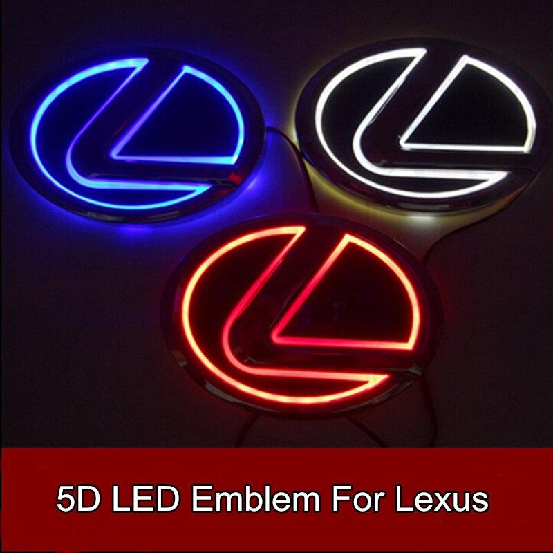 1pcs Car Styling 5D Led Rear Emblem Car Logo Light for Lexus LS270 RX450h CT200h EX250 GS300 ES300 ES240 RX350 1 piece car sticker styling waterproof 4d led el cold light badge logo emblem lamp for suzuki swift alto