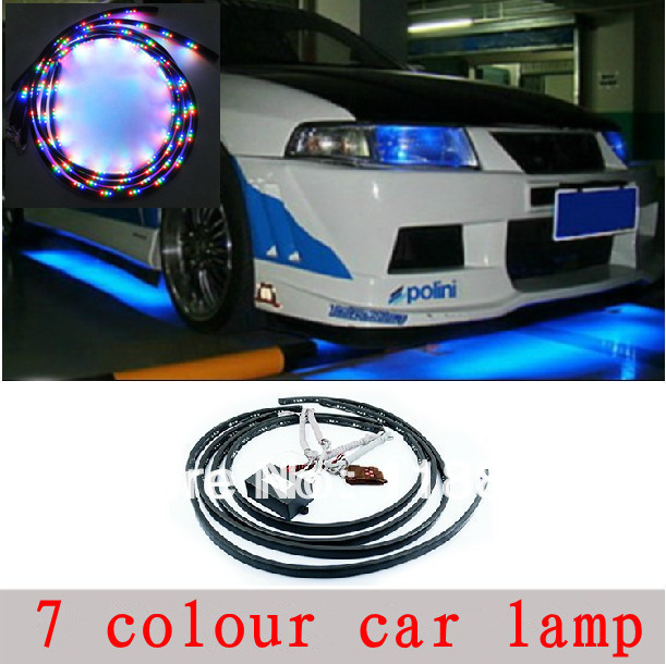 Free shipping,4pcs RGB Under Underbody Car Glow Flexible Led Strip Light Kit Neon with R ...
