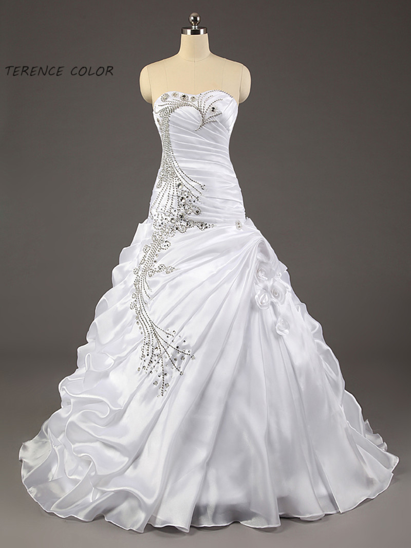 Gorgeous Ball Gown Ruffles Sweetheart Strapless Crystal Beaded Wedding Dresses Beautiful Stunning Bridal Dresses