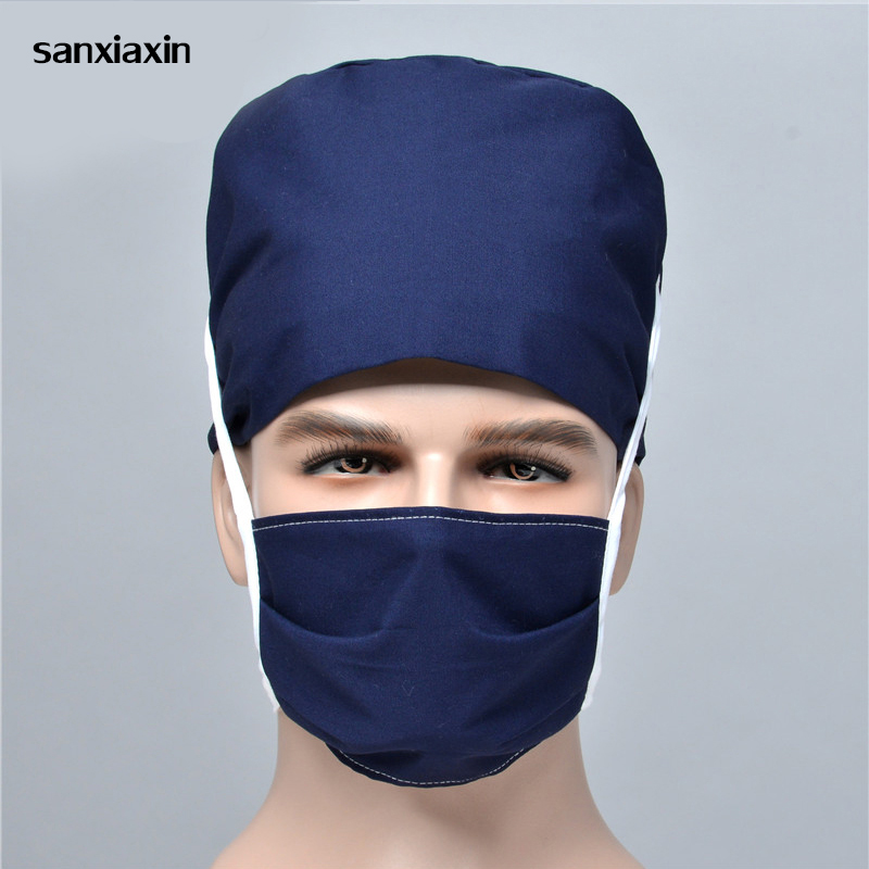 Solid Color Pharmacy Nurse Cap Doctor Surgical Hospital Adjustable Medical Surgery Caps Scrub Lab Clinic Dental Operation Hats