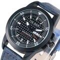 TIE-DAN Mostrador Branco Data Dia À Prova D' Água Relógios de Quartzo Com Pulseira de Couro Azul Para Os Homens de Negócios relojes para hombre