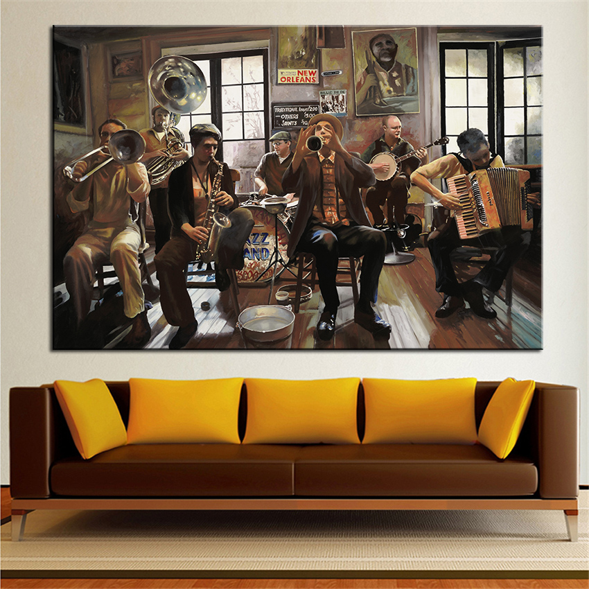 Large size print oil painting wall painting jazz orchestra for Jazz living room ideas