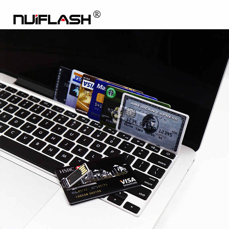 Credit Card USB Flash 8GB 4GB 16GB cle USB 2.0 flash stick 32GB Pen drive memory stick 64GB pendrive real capacity USB key