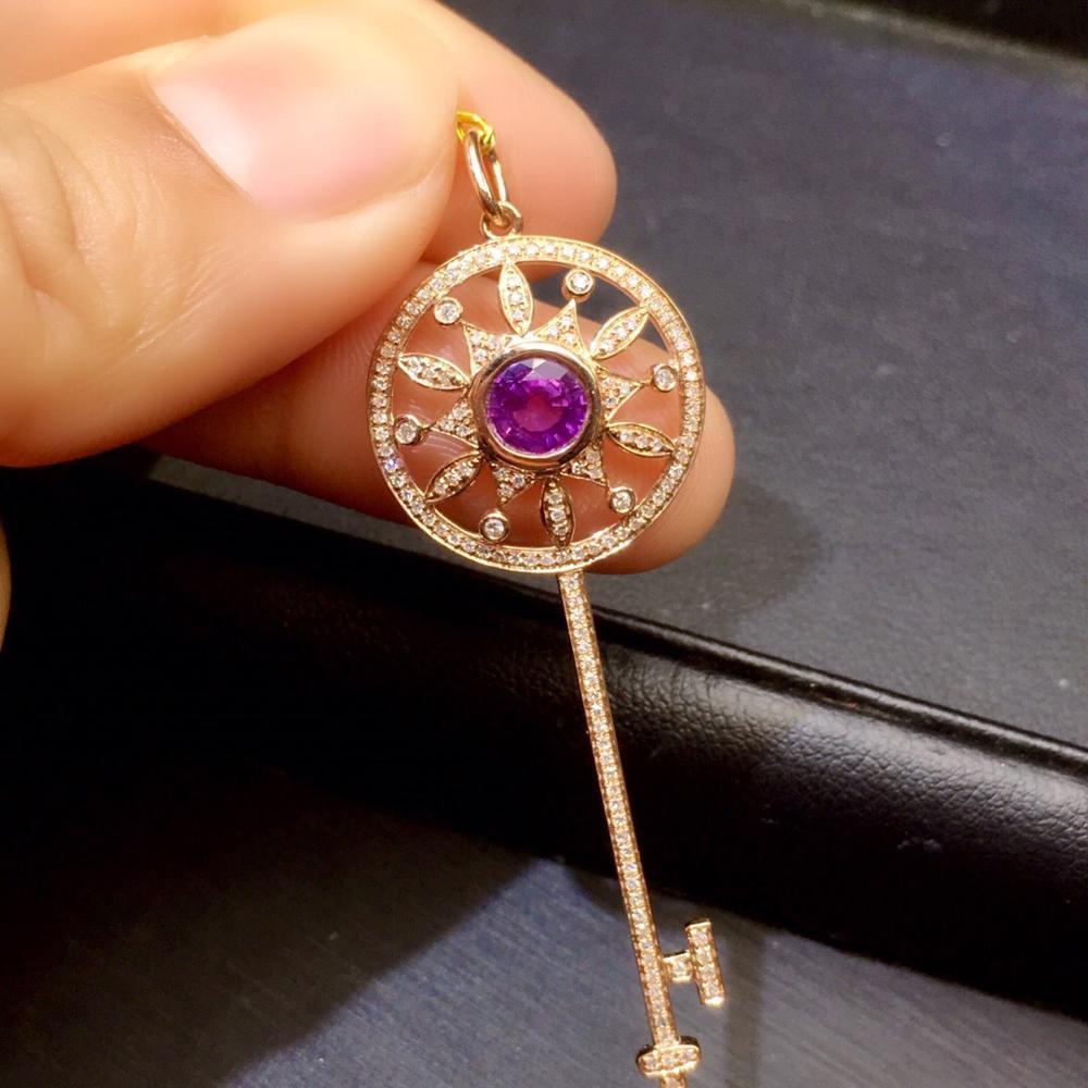 Sapphire Pendant Pure 18 K Gold Jewelry Blue to Purple Sapphire 0.96ct Gemstones Pendants for Women Fine NecklacesSapphire Pendant Pure 18 K Gold Jewelry Blue to Purple Sapphire 0.96ct Gemstones Pendants for Women Fine Necklaces