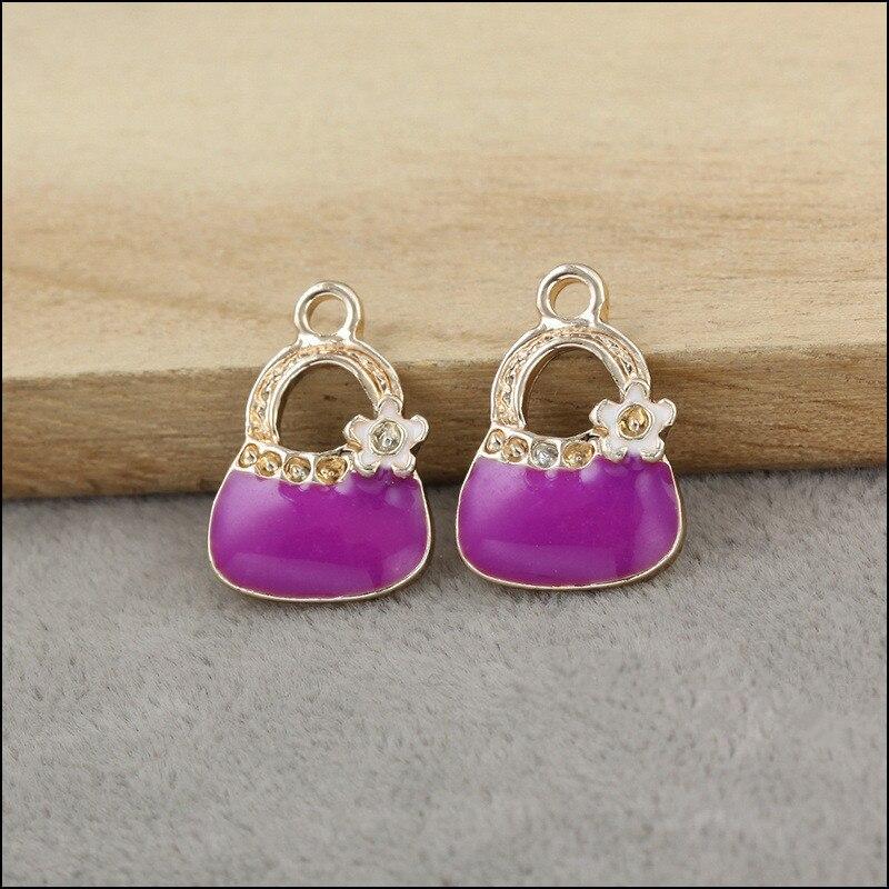 Gold Tone Metal Bracelet Necklace Pendant Charm 50PCS Purple Color Oil Drop Floral Handbag DIY Jewelry Findings Alloy Charms