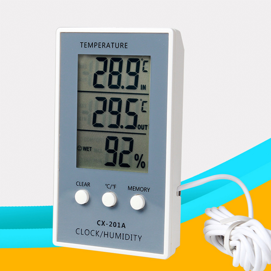 цена на Digital Thermometer Hygrometer Indoor Outdoor Temperature Humidity Meter C/F LCD Display Sensor Probe Weather Station