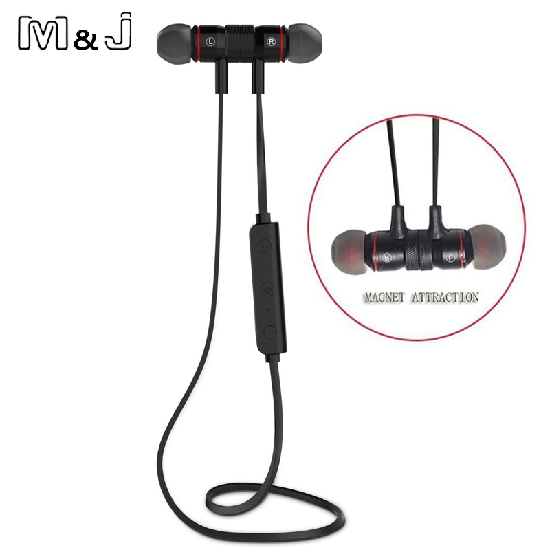 Bluetooth V4.1 Wireless Sukan Running Earphone Stereo In-ear Earphone Magnet dengan Mikrofon Earphone Untuk iphone Sumsang Xiaomi