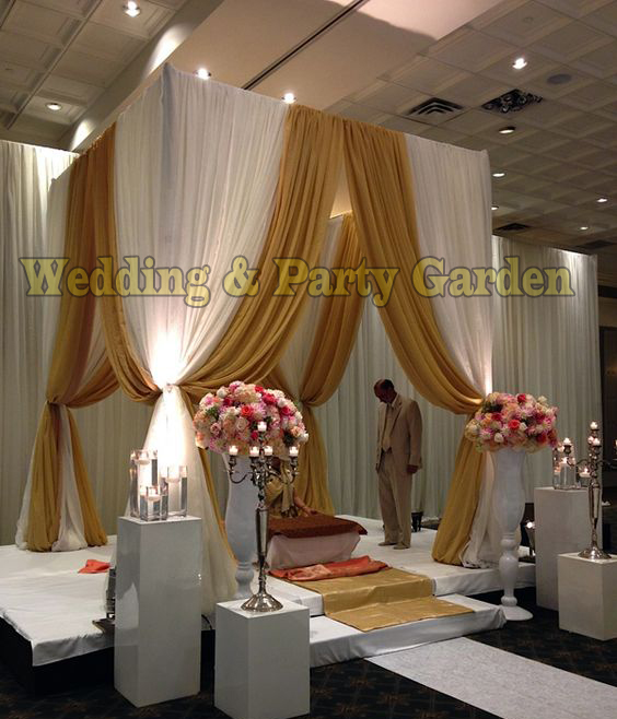 10u0027*10u0027*10u0027 White with Gold square canopy drape with stainless steel Pipeswedding stage decor wedding curtain & 10u0027*10u0027*10u0027 White with Gold square canopy drape with stainless steel ...