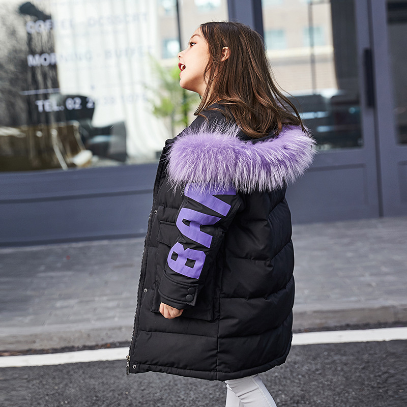 The new 2018 winter down jacket of the girls in long thickening brim child coat han edition cuhk children's children girls down jacket long in the new fashion winter 2017 female children upset han edition tide leisure coat