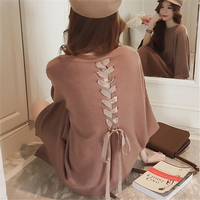 KULAZOPPER Autumn Women Pullovers Female Knitted Back Lace up Sweater Lady O Neck Loose Casual Long Jumper Sweater KW178
