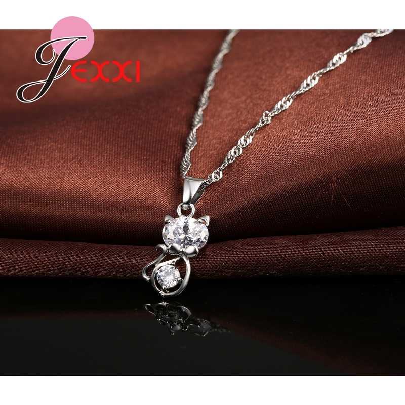 925 Sterling Silver Color Cubic Zirconia Wedding Jewelry Sets AAA CZ Crystal  Cute Animal Cat Necklace Earrings Women Collar