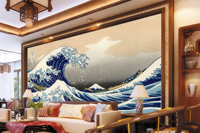 background japanese bedroom living waves tv sofa murals custom zoom wallpapers mouse