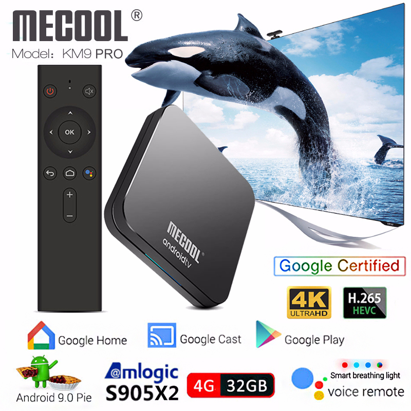 Mecool KM9 PRO S905X2 Android TV Box Android 9.0 4 GB 32 GB commande vocale smart tv box 4 k iptv box pk mecool km3 lecteur multimédia