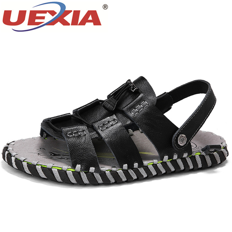 UEXIA Leather Summer Soft Male Sandals Shoes For Men Handmade Breathable Light Beach Casual Quality Walking Sandal 2018 New