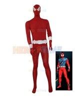 Custom Made Scarlet Spiderman Costume Red Spiderman Superhero Jumpsuit With Belt Cool Cosplay Comic Costume Male