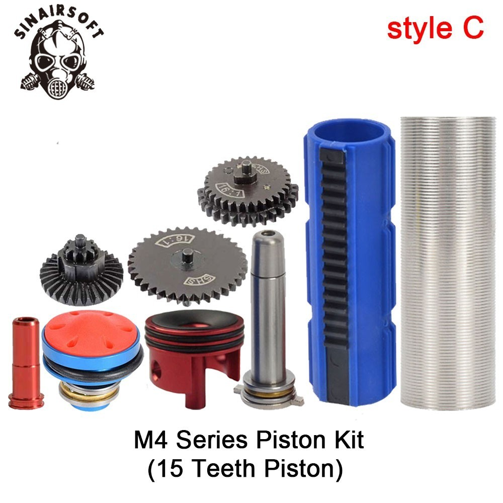 SHS-16-1-Gear-Nozzle-Cylinder-Spring-Guide-14-Teeth-Piston-Kit-Fit-Airsoft-M4-M16 (2)