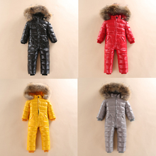 купить Baby Duck Down Rompers Winter Thick Cotton Jacket Genuine Fur Girl Suit Children's Duck Down Coat Snowsuit Russian Winter -30 по цене 3339.4 рублей