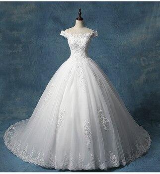 Gorgeous Appliques Scoop Neck Lace Princess Wedding Dress 2019 Luxury Beaded A-Line Vintage Bridal Gown Vestido de Noiva