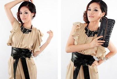 Ladies Leather   Belts   Women Girls Fashion Bowknot Bow Elastic Stretch Waist   Belt   Bowknot Waist   Belt